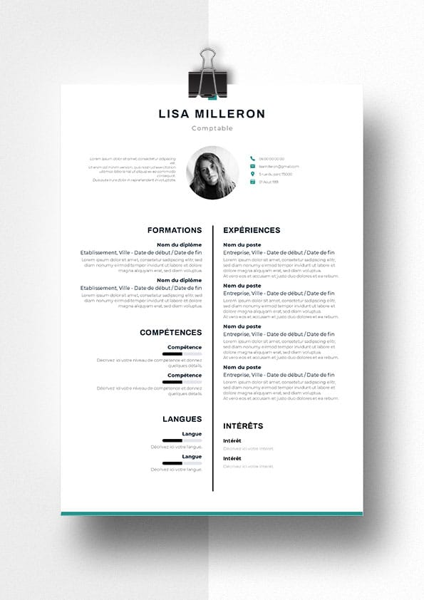 exemple cv comptable