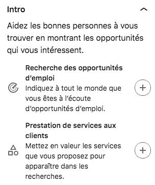 linkedin opportunité section